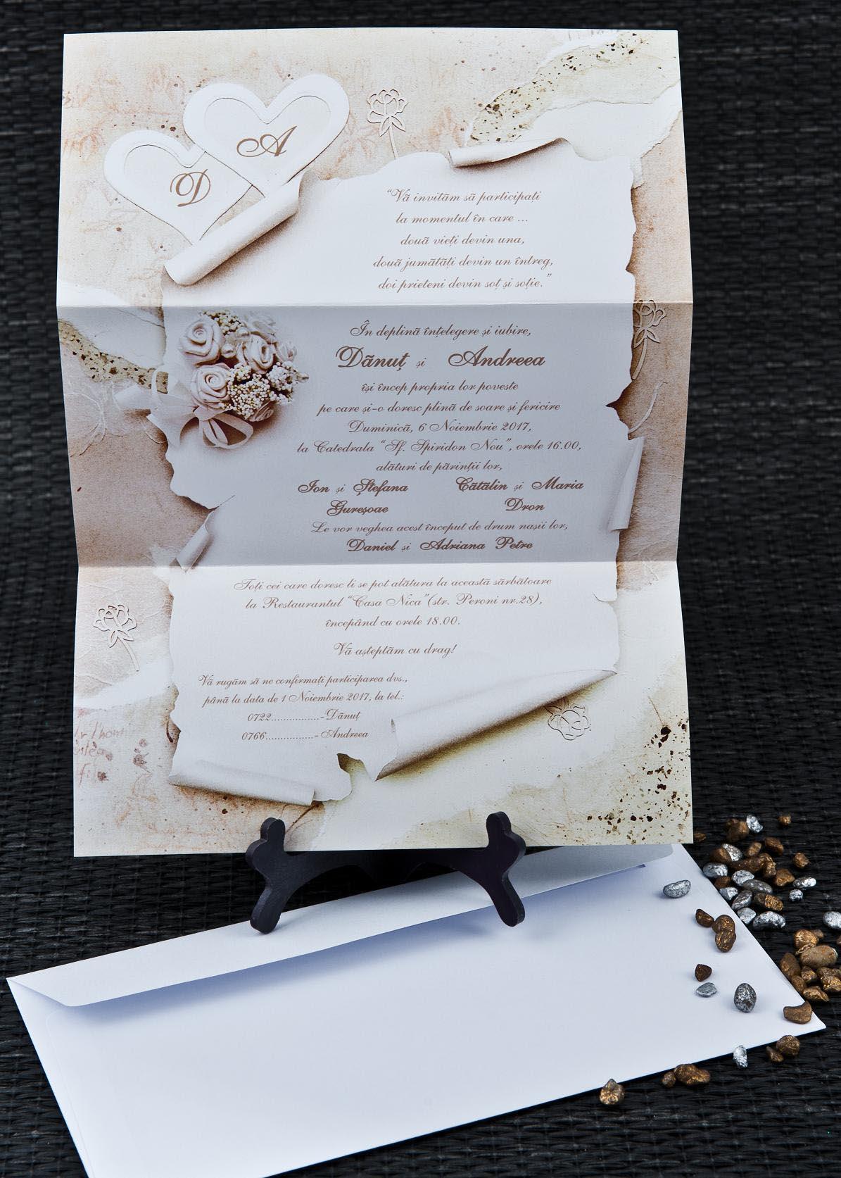 Papirus Invitatii Nunta Invitatii Botez Marturii Plicuri Bani